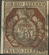 º23. 1853. 3 Cuartos Bronce Dorado (inapreciable Cortecito En El Centro Del Sello). MAGNIFICO. Cert. GRAUS. - Spain