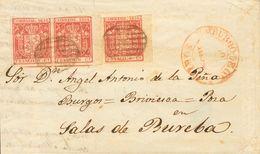 Sobre 24(3). 1854. 6 Cuartos Carmín, Pareja Y Sello Suelto (bordes De Hoja). BURGO DE OSMA A SALAS DE BUREBA. MAGNIFICA  - Spain