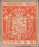 (*)25. 1854. 2 Reales Rojo. Amplios Márgenes Y Color Intenso. MAGNIFICO. Cert. COMEX. - Spain