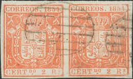 º25(2). 1854. 2 Reales Rojo, Pareja. Márgenes Enormes. MAGNIFICO. - Spain