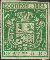 *26. 1854. 5 Reales Verde. MAGNIFICO. Cert. CEM. - Spain