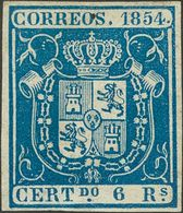 *27. 1854. 6 Reales Azul (ínfimo Puntito De Tinta En El Cartucho Superior). MAGNIFICO Y RARISIMO SELLO EN NUEVO. Cert. C - Spain