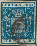 º27. 1854. 6 Reales Azul. MAGNIFICO. - Spain