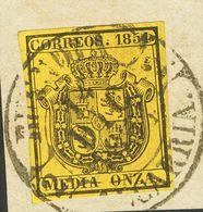 Fragmento 28. 1854. ½ Onza Negro Sobre Amarillo, Sobre Fragmento. Matasello Baeza BUENDIA / ALCARRIA, En Negro. MAGNIFIC - Spain