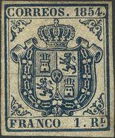 *34. 1854. 1 Real Azul Oscuro (leve Puntito Claro). MAGNIFICO Y MUY RARO SELLO EN NUEVO. Cert. CEM. - Spain