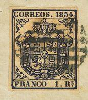 º34. 1854. 1 Real Azul Oscuro, Sobre Pequeño Fragmento. MAGNIFICO. - Spain