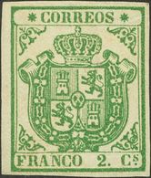 (*)32A. 1854. 2 Cuartos Verde PAPEL GRUESO AZULADO, Borde De Hoja (manchitas Del Tiempo Limpiadas). Enormes Márgenes Y C - Spain