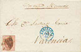 """Sobre 33. 1855. 4 Cuartos Rosa. BARCELONA A VALENCIA. En El Frente Manuscrito """"Vapor Mercurio"""". MAGNIFICA. - Spain"""
