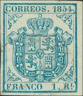 º34A. 1854. 1 Real Azul Pálido, Borde De Hoja. Márgenes Enormes Y Matasello Muy Leve. PIEZA DE LUJO, CASI CON TODA SEGUR - Spain