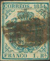 º34A. 1854. 1 Real Azul Claro (invisible Pliegue Del Papel). BONITO Y MUY RARO. Cert. GRAUS. - Spain