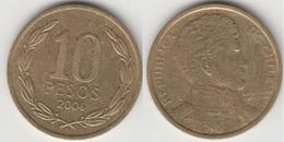 Cile 10 Pesos 2006 (Normal Rim) KM#228.2 - Used - Chile