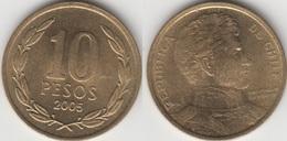 Cile 10 Pesos 2005 (Normal Rim) KM#228.2 - Used - Chile