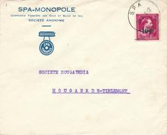 098/29 - BELGIUM - Lettre TP Moins 10 % Surcharge Locale SPA 1946 Vers HOUGAERDE - TB Entete Eaux Minérales SPA Monopole - Autres