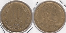 Cile 10 Pesos 2002 (Normal Rim) KM#228.2 - Used - Cile