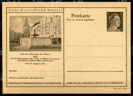 """German Empires 1942 Kopfbild A.Hitler GS Mi.Nr.P307/42-19-1-B23""""Lernt Deutschland Kennen!-Wels,Heimatgau D.Führers"""" 1 GS - Germany"""