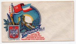 1944 YUGOSLAVIA, BEOGRAD, TITO, AIR MAIL COVER, LIBERATION OF BELGRADE 16.10.1944, PRINTED IN USA - Old Paper