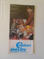 ZA142.2  Hungary MALÉV Hungarian  Airlines  Comfort  Advertising Brochure TU154 TU134  Ca 1980 - Advertisements