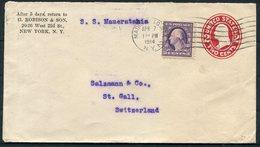 1914 SS Mauritania Robison New York Uprated Stationery Cover - Salzmann, St Gallen Switzerland. Bern Landesausstellung - United States