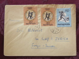 Hungary 1961 Cover Budapest To Switzerland - Fairy Tales Music - Olympic Games Boxing - Budapest 61 Label On Back - Hungary