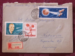 Hungary 1962 Registered Cover Nagykoros To Katowice - Space - Weight Lifting - John Glenn - Hungary
