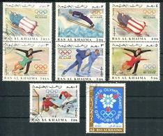 X WINTER OLYMPIC GAMES, GRENOBLE 1968. RAS AL KHAIMA MICHEL 209 / 216 COMPLETE SERIE OBLITERES - LILHU - Ra's Al-Chaima
