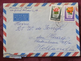 Hungary 1963 Cover Budapest To Holland - Roses Flowers - Hungary