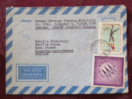 Hungary 1963 Cover Budapest To England - Messe Fair - Figure Ice Skating - Covers & Documents