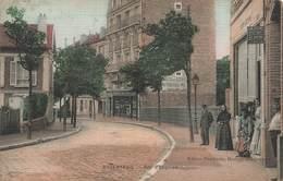 95 Argenteuil Rue D' Enghien Cpa Carte Animée Colorisée Toilée Cachet 1919 - Argenteuil