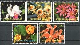 FLORES FLOWERS FLEURS. FUJEIRA 1973 MICHEL 1332 / 1336 COMPLETE SERIE OBLITERES - LILHU - Fujeira