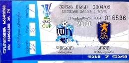 Football Tickets -  F.C.  DINAMO Tbilisi V. FC Sochaux-Montbéliard , 2004 , EURO - CUP. - Tickets - Entradas