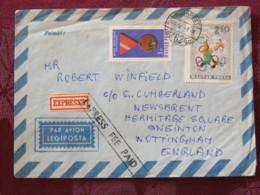 Hungary 1966 Cover Budapest To England - Medal - Circus Juggler - Hungary