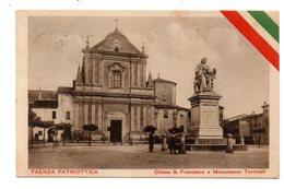 FAENZA PATRIOTTICA  CHIESA S. FRANCESCO E MONUMENTO TORRICELLI   1916 - Faenza