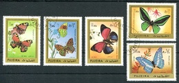 MARIPOSAS, PAPILLONS, BUTTERFLIES. FUJEIRA 1971 MICHEL 780 / 784 COMPLETE SERIE OBLITERES - LILHU - Fujeira