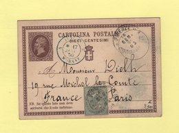 Italie - Firenze - Florence - 14 Janvier 1876 - Destination Fance - Entree Italie Modane - Marcofilía