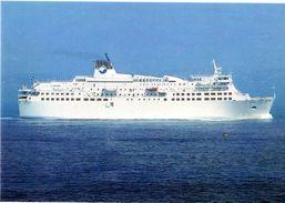 """Cpm_PAQUEBOT TRANSBORDEUR """"CORSE"""" Longueur 145 M, Largeur 23.80 M....capacité 2262 Passagers Et 700 Voitures - Dampfer"""