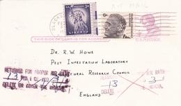 United States Perfin VPI Stamps On 4c Lincoln Postal Stationary Postcard Returned For Proper Air Rate - Ganzsachen