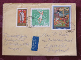 Hungary 1971 Cover Budapest To England - Lenin - Japanese Painting - Olympic Games Hammer Throwing - Hungary