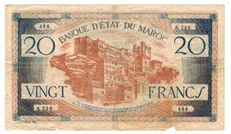 Morocco, 20 Fr. P-39. Used, See Scan. RARE. - Morocco