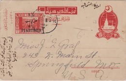 1Pi Soldiers In Trench Overprinted 4 1/2 Piastres On 20pa Leander's Tower Postal Card C1923 To Springfield, Mo. Ca... - Storia Postale