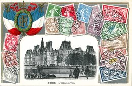 #2889 Paris (4e Arr.), L'Hotel De Ville.  CPA En Relief Avec Timbres - Timbres (représentations)