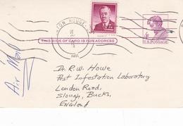 United States 1966 Baton Rouge To England 7c+ 4c Lincoln Postal Stationary Postcard - Ganzsachen