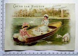CHROMO  GRAND FORMAT CACAO VAN HOUTEN....DÉGUSTATION DANS UNE BARQUE...ETANG ...GYGNES - Van Houten