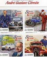 Sierra Leone  - 2015 -  80e Anniversaire Andre Gustave Citroen - Traction 11cv-7cv-Ami-814  - 4v Feuillet  Neuf/Mint MNH - Voitures