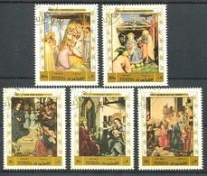 NACIMIENTO DE JESUS, NAISSANCE, BIRTH, PAINTS ART. FUJEIRA 1970 MICHEL 577 / 581 COMPLETE SERIE OBLITERES - LILHU - Fujeira