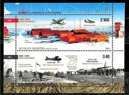 ARGENTINA 2019 ANTARCTIC MARAMBIO STATION 50°ANIV,AVIATION,AIRPLANES UNUSUAL COATING S/SHEET MNH - Stamps