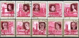EX PRIME MINISTER AND MONARCHS UNITED KINGDOM. FUJEIRA 1975 MICHEL 475 / 484 COMPLETE SERIE OBLITERES - LILHU - Fujeira