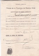 CERTIFICADO DE BUENA CONDUCTA, POLICIA PROVINCIA DE BUENOS AIRES, ARGENINA, QUILMES. AÑO YEAR 1931 - BLEUP - Historische Dokumente