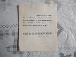 CHATEAU DE BAVINCOURT  PAS DE CALAIS LE 2 AOUT 1947 MADEMOISELLE VALENTINE DE BOIRY ET MONSIEUR BRUNO FAIVRE D'ACIER - Mariage