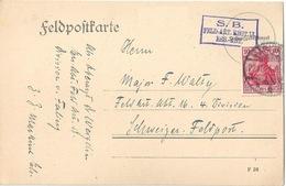 """Feldpost Karte  """"S.B.Feld-Art.Regt.13 Ers.-Abt.""""  Markirch - Schweiz Ins Felde         1914 - Allemagne"""