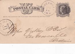United States 1880 Vincennes Indiana To Evansville 1c Postal Stationary Postcard - ...-1900